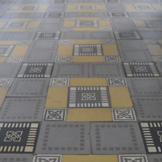 Ancient cement tile floors at Museum of Art in the middle of Saigon