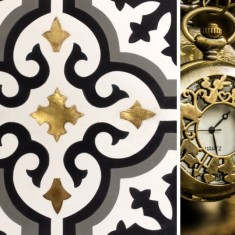 Special tile (3D, relief, brass inlaid)