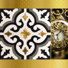 Special tile (3D, relief, brass inlay)